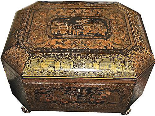 An Unusually Large 1823 English Regency Chinese Export Black, Gold and Red Lacquered Tea Caddy No. 2877