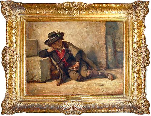 The 19th Century Oil on Panel, The Italian Boy by Hubert von Herkomer No. 2885