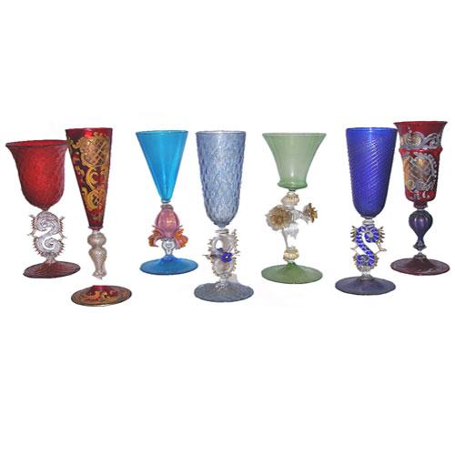 A Set of Seven Murano Crystal Stemware Goblets No. 2906