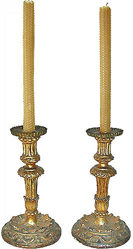 A Pair of 18th Century Giltwood Venetian Candlesticks No. 2929