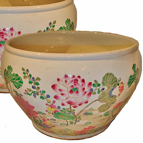 A Pair of Large 19th Century Famille Rose Chinese Porcelain Pots No. 2926