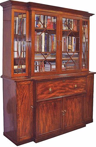 A Fine 19th Century English Regency Flame Mahogany Bureau Bookcase No. 2704