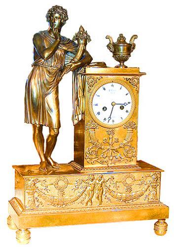 A 19th Century Italian Empire Gilt-Bronze Figural Mantel Clock No. 1511