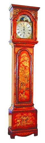 An 18th Century English George III Red Lacquered Japanned Tall Case Clock No. 1500