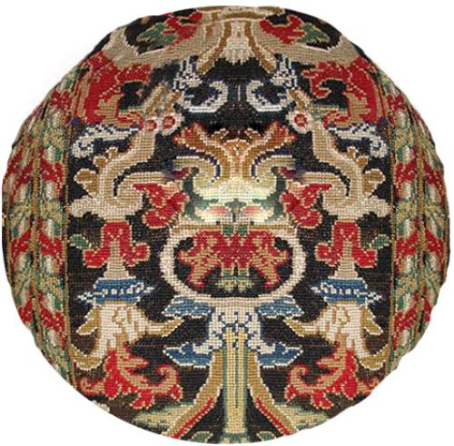 A Circular 19th Century Gros Point Continental Needlepoint Cushion No. 2953