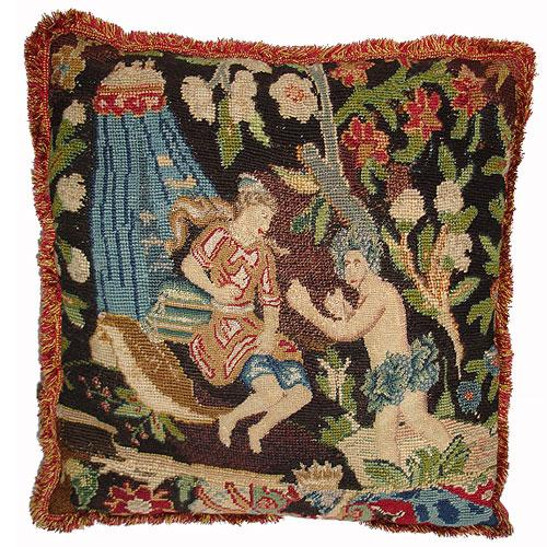 An 18th Century Continental Tapestry Fragment Cushion No. 2956