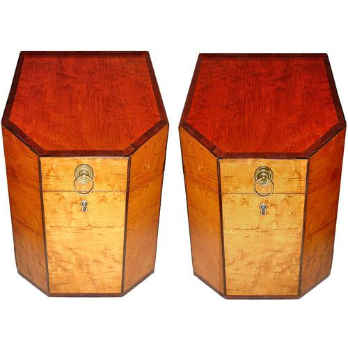 A Striking Pair of Early 19th Century English Regency Bird's-Eye Maple Knife Boxes No. 3026