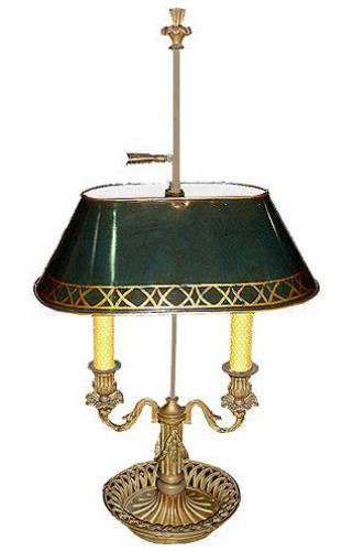A Two-Light 19th Century French Bouillotte Lamp No. 3078