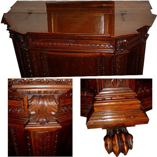 An 18th Century Italian Notched Hinged Top Walnut Credenza No. 3100