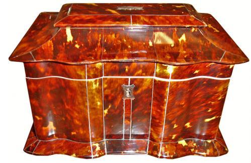 A 19th Century English Regency Tortoiseshell Tea Caddy No. 3127