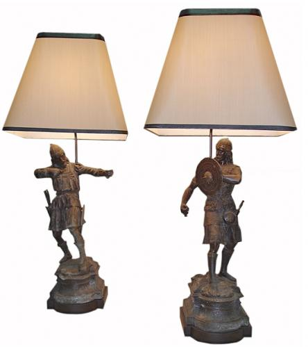 An Early 20th Century Pair of Cast Mixed Metal Warriors No. 3005