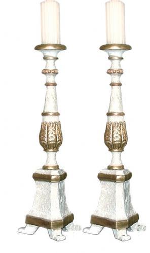 A Pair of 18th Century Italian Parcel-Gilt and Polychrome Candlesticks No. 35