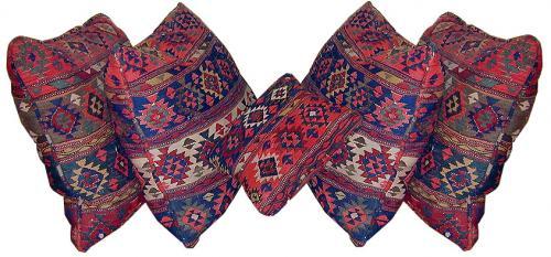A Set of Five 19th Century Persian Kilim Pillows No. 110