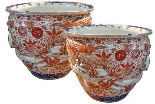 An Imposing Pair of 19th Century Imari Porcelain Jardinières No. 3115