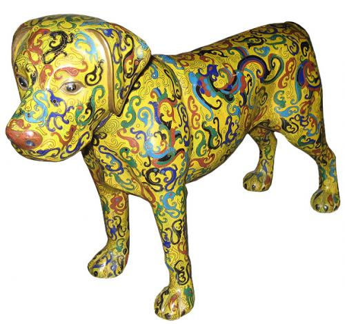 A Whimsical Cloisonné Dog No. 3164