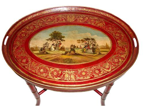 A 19th Century Oval Portable French Tole Serving Tray No. 2905