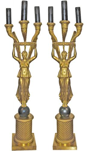 A Pair Of Charles X Empire Patinated Bronze Candelabra No. 3245