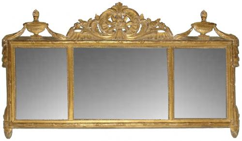 A Late 18th Century Italian Neoclassical Giltwood Over door/Over Mantle Mirror No. 3237