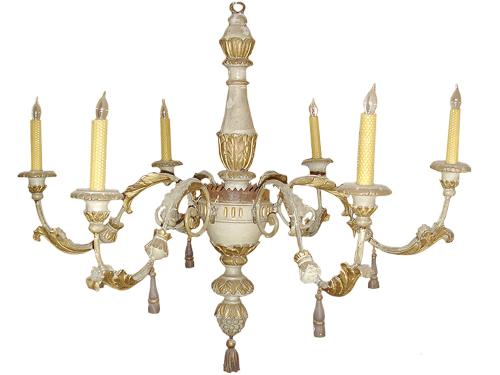 An 18th Century Italian Polychrome,Giltwood and Iron 6-Light Chandelier No. 3250