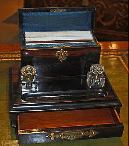 A Luxurious 19th Century English Rosewood Inkwell and Writing Set No. 3285