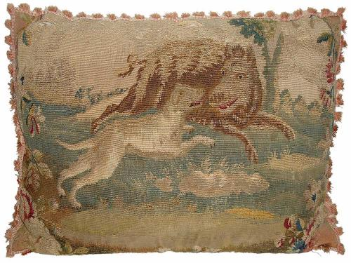 An 18th Century Beauvais Tapestry Fragment Cushion No. 2954