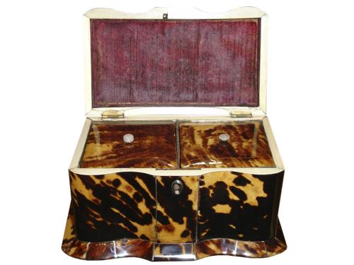 An English Regency Tortoiseshell Tea Caddy No. 3316