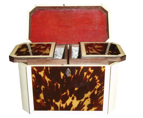 A Rare 18th Century Bone and Tortoiseshell Tea Caddy No. 3320