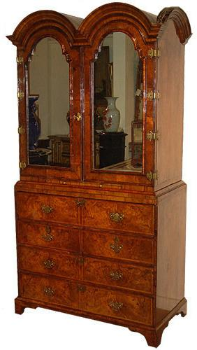 A Rare and Important 18th Century Burl Walnut Double Domed Queen Anne Linen Press Bureau Cabinet No. 3321