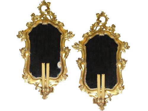 A Pair of 19th Century Bra de Lumiere Rococo Giltwood Mirrors No. 3337