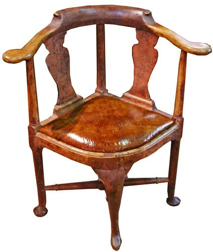 An Early 18th Century Swedish Queen Anne Polychrome Corner Chair No. 3346