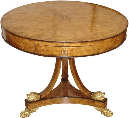 A Mid 19th Century French Burl Elm Wood Center Table No. 3399