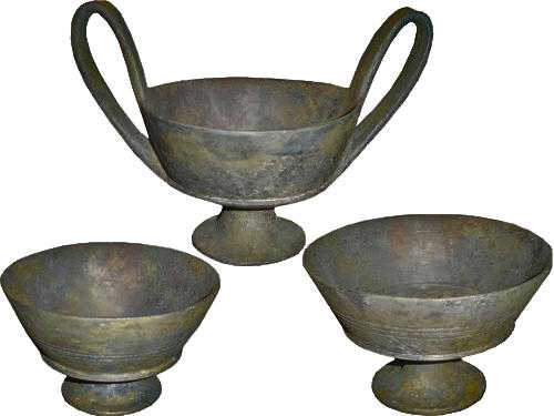 A Set of Three Basalt Clay Etruscan bowls No. 3381