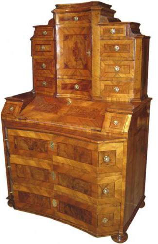 An Unusual Concave 18th Century German Walnut and Parquetry Bureau No. 3384