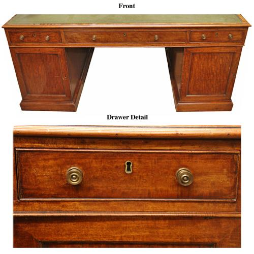 A 19th Century English Regency Lever London Mahogany Partners Desk No. 3395