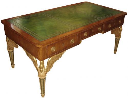 A Rare Pair of Italian Empire Walnut and Parcel-Gilt Partners Desks No. 3403