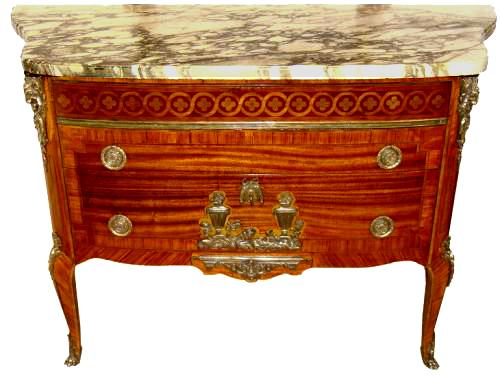 A French Transitional 18th Century Rosewood Parquetry Louis XVI Two-Drawer Commode No. 3427