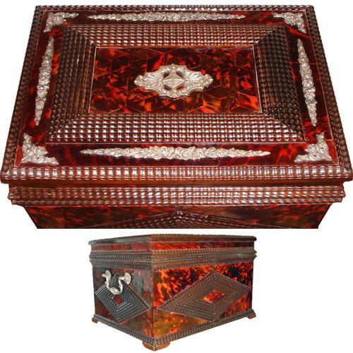 An Exceptionally Large 18th Century Portuguese Red Tortoiseshell and Silver Valuables Box No. 3430