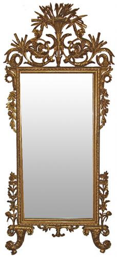 An Elegant 18th Century Italian Luccan Carved Giltwood Mirror No. 3434