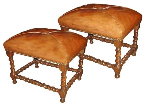 A Pair of 17th Century Italian Walnut Tabourets No. 3459