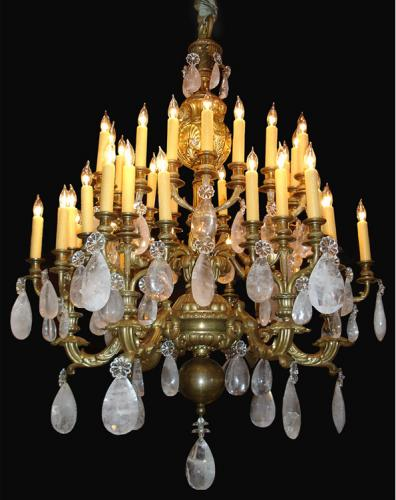 A Magnificent 19th Century Louis XV Forty-Two Light Rock Crystal and Bronze Doré Chandelier No. 3490