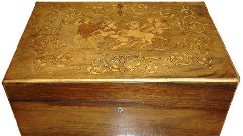 A 19th Century English Walnut and Satinwood Marquetry Sewing Box No. 3506