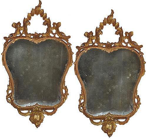 A Heart-Shaped Pair of 18th Century Italian Rococo Giltwood Mirrors No. 3516