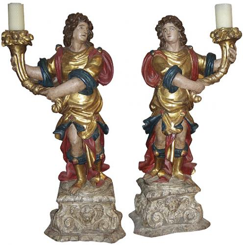 A Triumphant Pair of 18th Century Archangel Torchères No. 3522