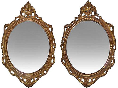 A Pair of Italian 18th Century Oval Giltwood Mirrors No. 3525