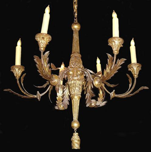 An 18th Century 6-light Giltwood and Gilded Metal Chandelier No. 3551