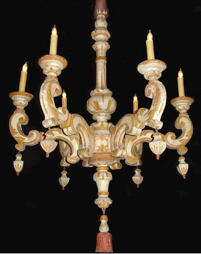 An 18th Century Tuscan Ochre and Creme Polychrome Six Light Chandelier No. 3554