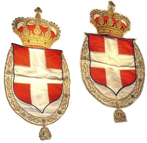 A Pair of 19th Century Fabric, Cabochons, and Gold Thread Heraldic Banners of the House of Savoy No. 3576
