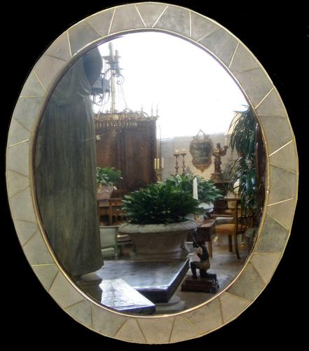 A 20th Century French Celadon Shagreen Oval Mirror No. 3621