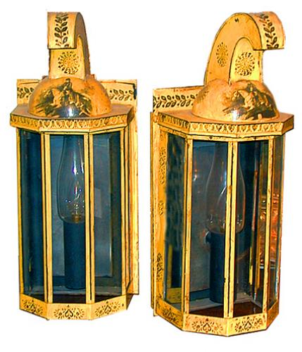 A Pair of 19th Century French Empire Yellow Painted Tole Lanterns No. 166