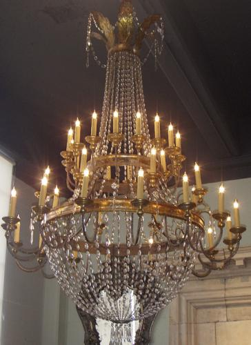 A Late 18th Century Italian Neoclassical Crystal and Gilt Metal 40-Light Chandelier No. 3657